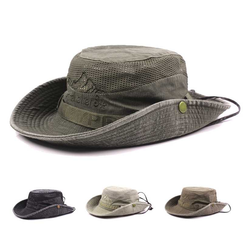 3ce56bdcd04 Wide Brim Fishing Cap Fisherman Bucket Hat Outdoor Hiking Sombrero Lady Men  Breathable Mesh Sunshade Visor