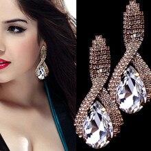 купить bohemian Large Crystal Earrings Stones big drop earrings Cubic Zirconia Women's Earings Femme lady earrings дешево