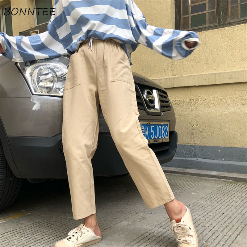 Pants   Women Spring Clothing Korean Elastic Waist Loose Casual Womens   Pant   Pocket Cargo Wide Leg   Capris   Ankle-Length Trousers New