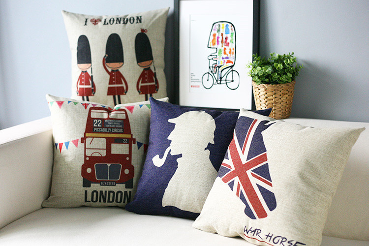 Decorare Cuscini.Londra Retro Cuscino Decorativo S Britannico Blu Cuscino Lenzuola
