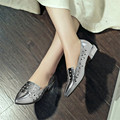 2016 spring and summer genuine leather pointed toe shoes shallow mouth low-heeled plus size 41 women's small yards shoes