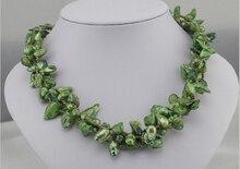 Collar de Perlas de Agua Dulce Irregular Verde Playa Estilo de La Moda Collar de perlas de agua dulce Barroco collar Fino