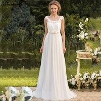 gelinlik new chiffon flower Scoop neck backless A Line ivory bohemian style vintage wedding dress trailing vestidos de novia che