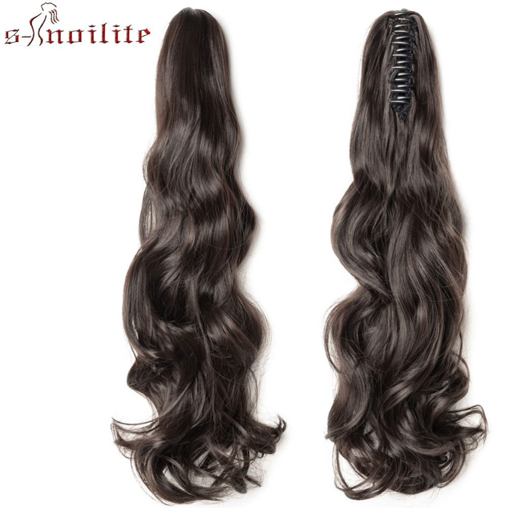 S-noilite Long Wavy Wrap Around Ponytail Claw Jaw In Hair Pieces Natural Synthetic Hair Extensions