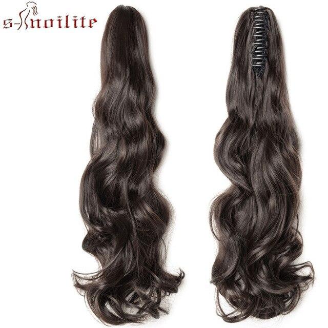 S-noilite длинные волнистые обертывания вокруг конского хвоста коготь челюсти в части волос настоящие натуральные волосы remy для наращивания человеческих волос