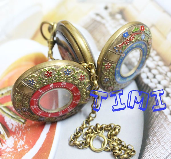 ФОТО wholesale New Design Two Cover Tourbilon MoonPhase Pocket Watch