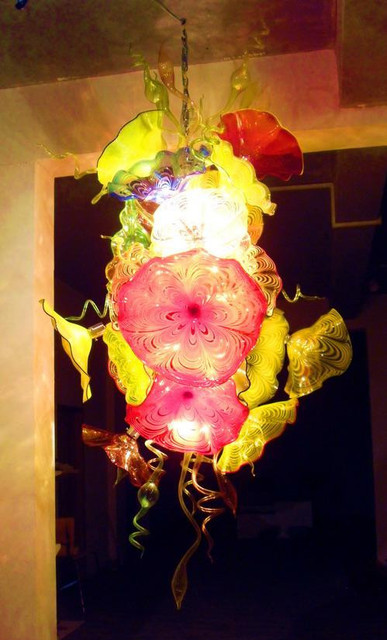 Modern Murano Flower Glass Plates Hanging Led Chandelier Dale Chihuly Style Handmade N Art
