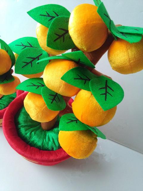 Potted orange tree brinquedos de pelúcia decoração do ano novo especial pp algodão boneca 28 cm 40 cm