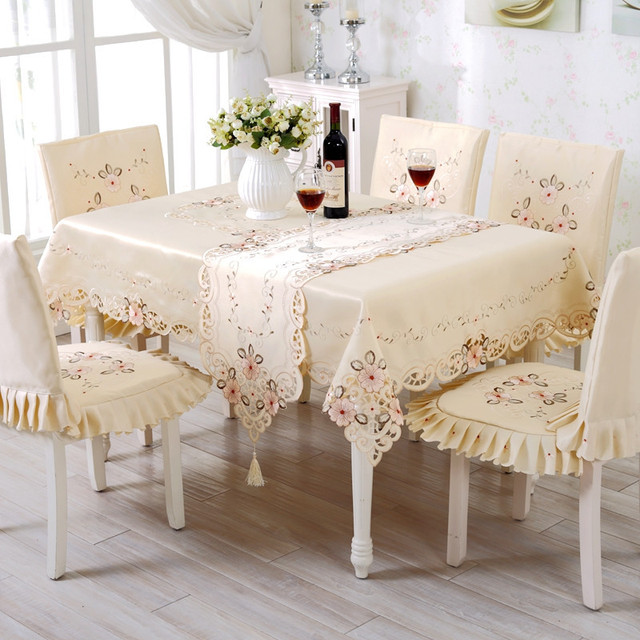 High End Pastoral Table Cloth Set Hollow Out Embroidery Dining