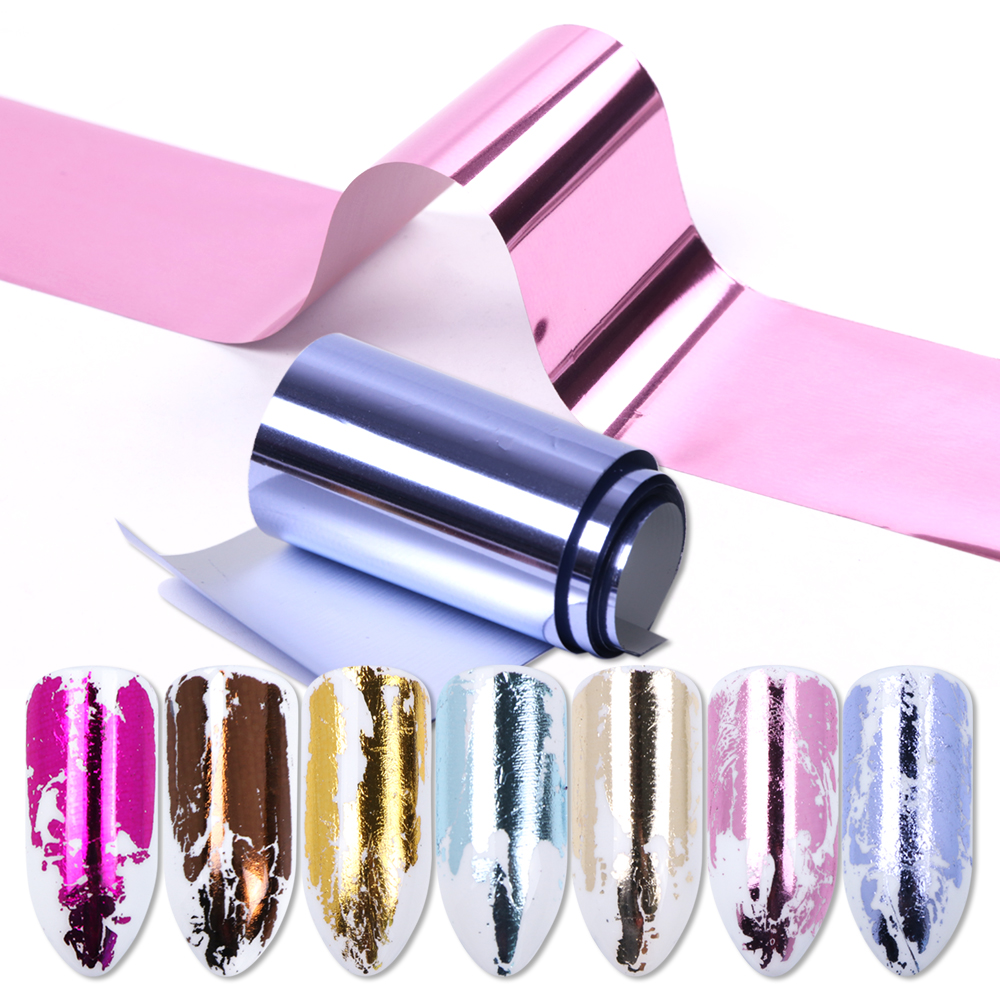 14pcs Charm Nail Foils Polish Stickers Metal Color Starry Paper Transfer Foil Wraps Adhesive Decals Nail Art Decorations BE996(China)