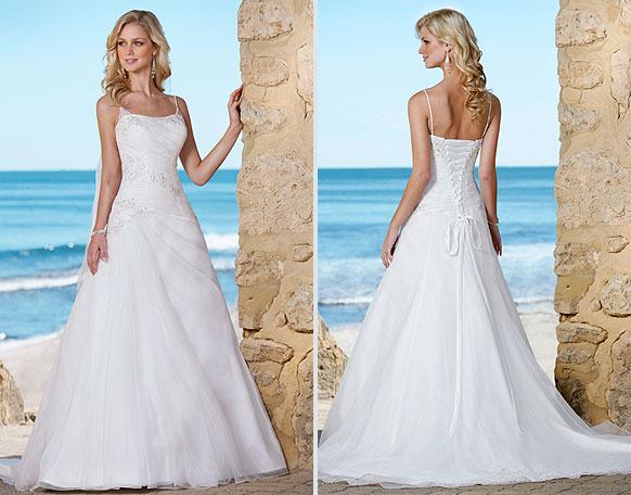 Graceful beach white bride dresses spaghetti strap square