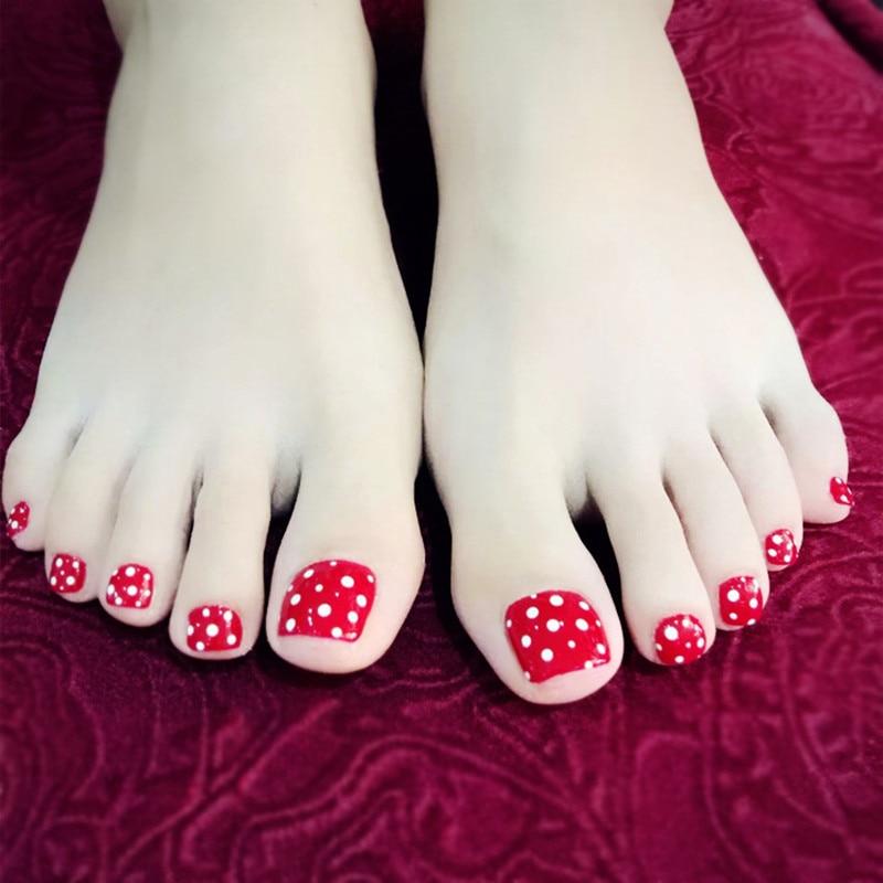 Lovely Dots False Toe Nails Shiny Red Artificial Fake Toenail Foot Nail Art DIY Manicure Tools Y4