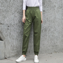 New overalls womens port wind high waist loose beam feet carrot pants grandma pants harem pants camouflage sweatpants streetwear grid carrot pants