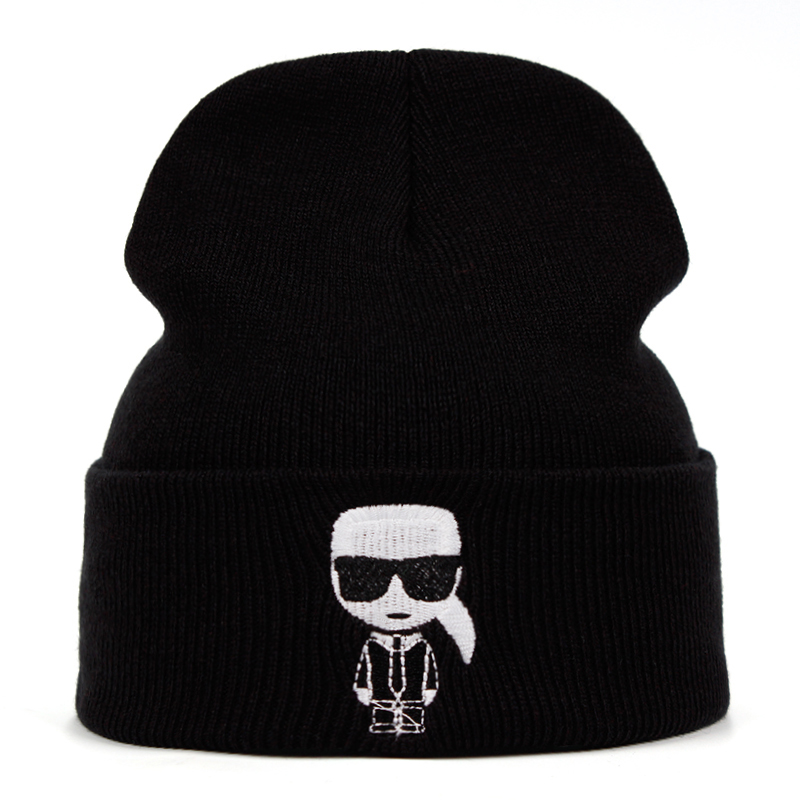 Designer Karl Beanie Knitted Winter Hat Solid Hip-hop Skullies Knitted Hat Cap Costume Accessory Gifts Warm Winter