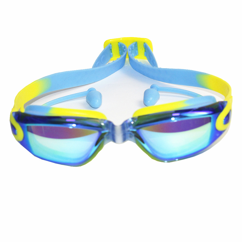 Professional Silicone  Swimming Goggles Anti-fog UV  kids Sports Eyewear Swimming Glasses With Earplug for children