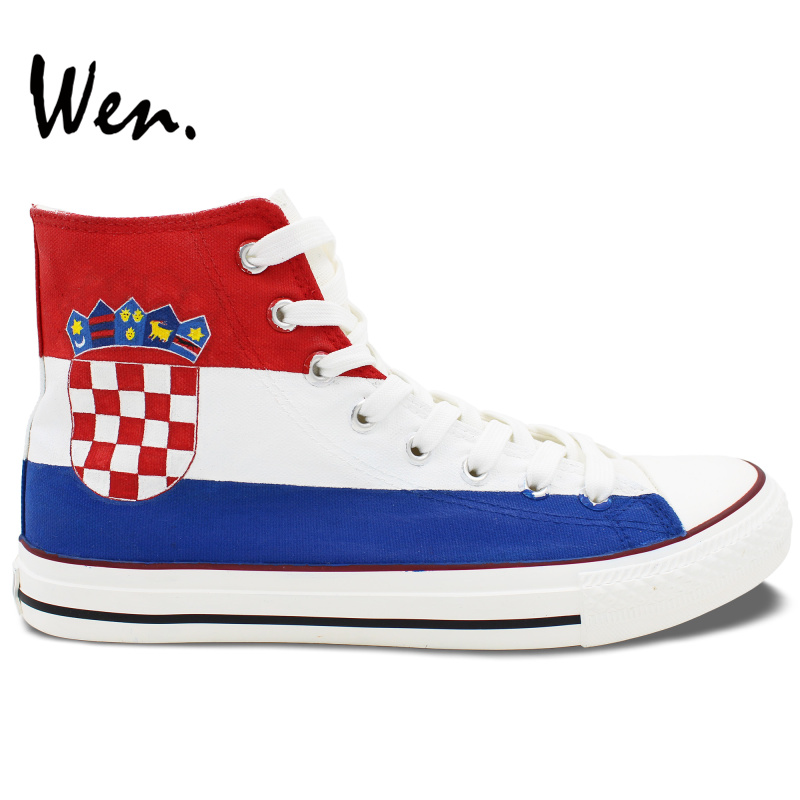 Wen Sneakers Original Hand Painted Shoes Croatia Flag Design Custom High Top Women Men's Canvas Sneakers Birthday Gifts men women converse puerto rico flag hand painted artwork high top canvas shoes unique sneakers