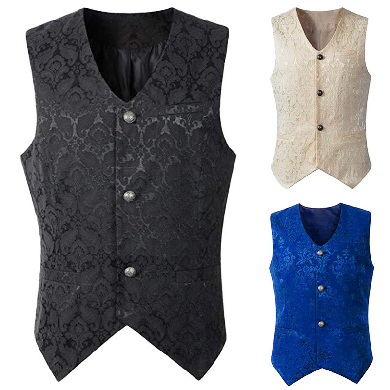 Adult Men Vintage Vest Waistcoat Victorian Black Steampunk Style Gothic Jacquard Swallow Top Noble Costume For Men's Blazer Suit