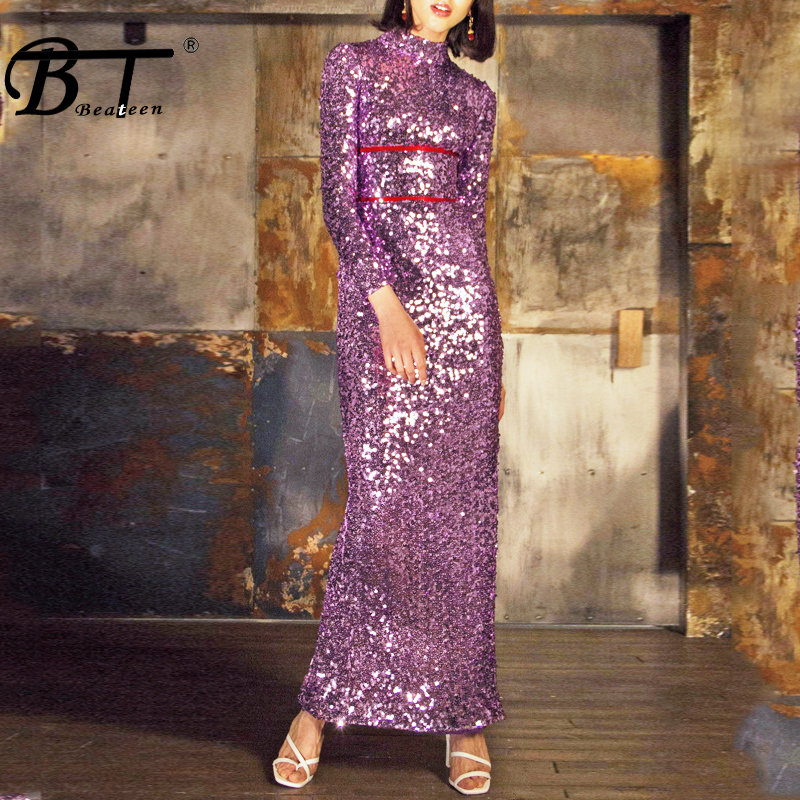 Beateen Women Fashion Sequined Long Dress Bodycon Long Sleeve Ankle Length Dress 2018 New Arrival