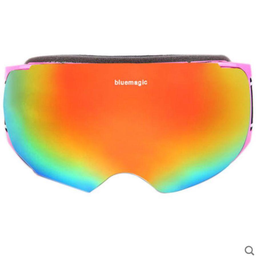 Bluemagic лыжные очки для детей, двойные линзы, мужские и женские очки, снежные очки, унисекс, очки для взрослых, Лыжный спорт, сноуборд, очки UV400 - Цвет: pinkframe goldlens