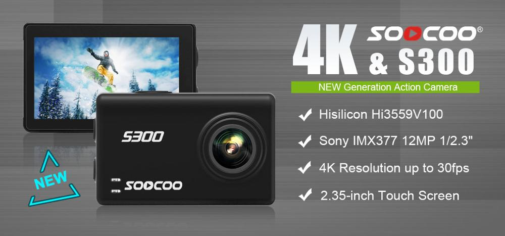 Original SOOCOO S300 Sports Camera Action Cam Ultra HD 1080P 4K 30fps Hi3559V100 IMX377 with WiFi Voice Control 2.35