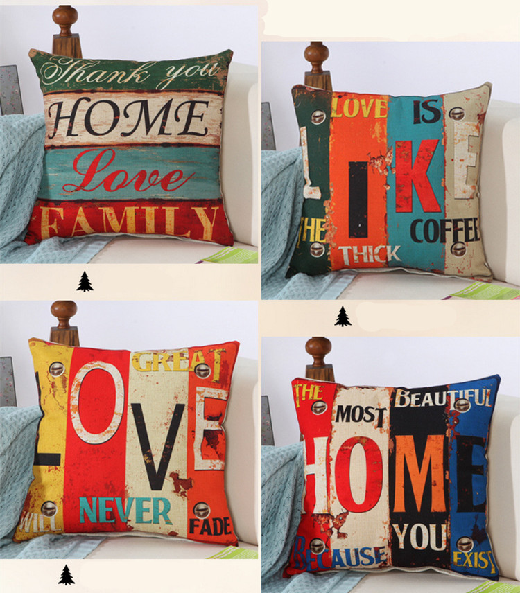 45x45cm 17 72x17 72 quot Alphabet pattern Home Love Cushion Cover Linen Decorative Throw Pillow Cover Seat Sofa Embrace Pillow Case in Cushion Cover from Home amp Garden