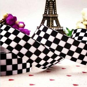 1 дюйм 25 мм черная, черно-белая клетчатая печатная лента 10 ярдов DIY сумка с бантом на плечо аксессуары для волос бант для волос Grosgrain лента