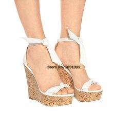 Wadges  Wooden Heel Sandals Super High Cover Heel Peep Toe Shoes Bowtie ShoeButterfly-Knot Ankle Wrap Plus Size Platform Shoes