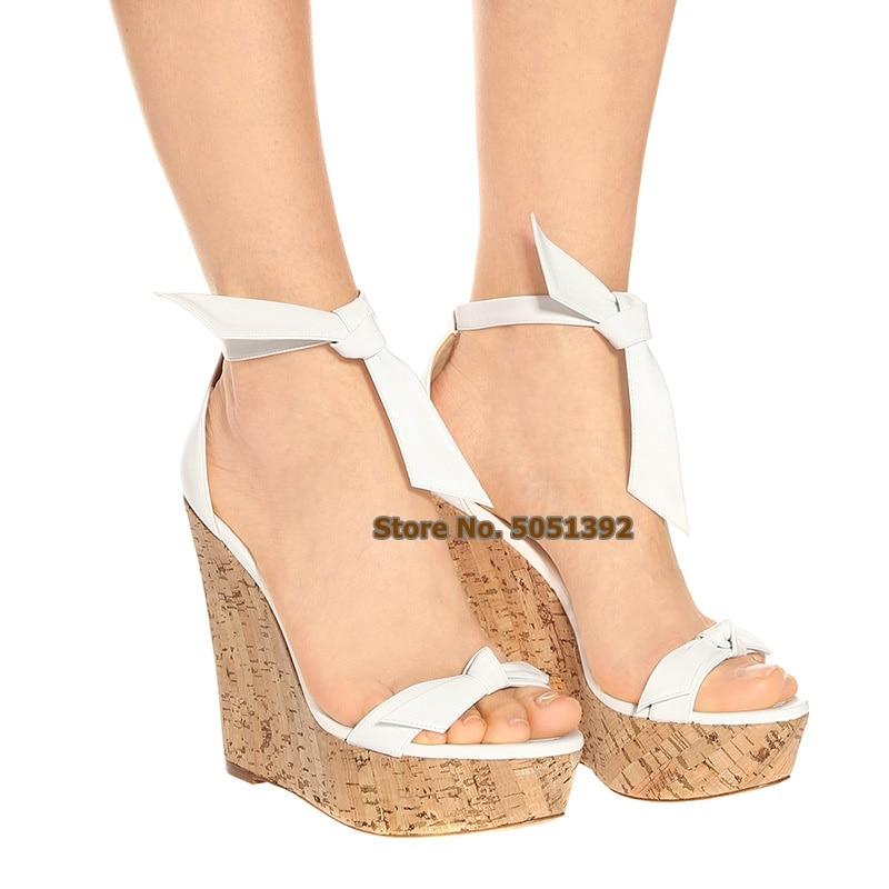 Wadges sandales à talons en bois Super haute couverture talon Peep Toe chaussures noeud papillon-noeud cheville Wrap grande taille chaussures à plate-forme