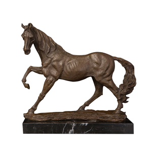 ArtsHom Free shipping hot sale home decor small copper antique metal bronze racing running horse sculpture statue cast animal(China)