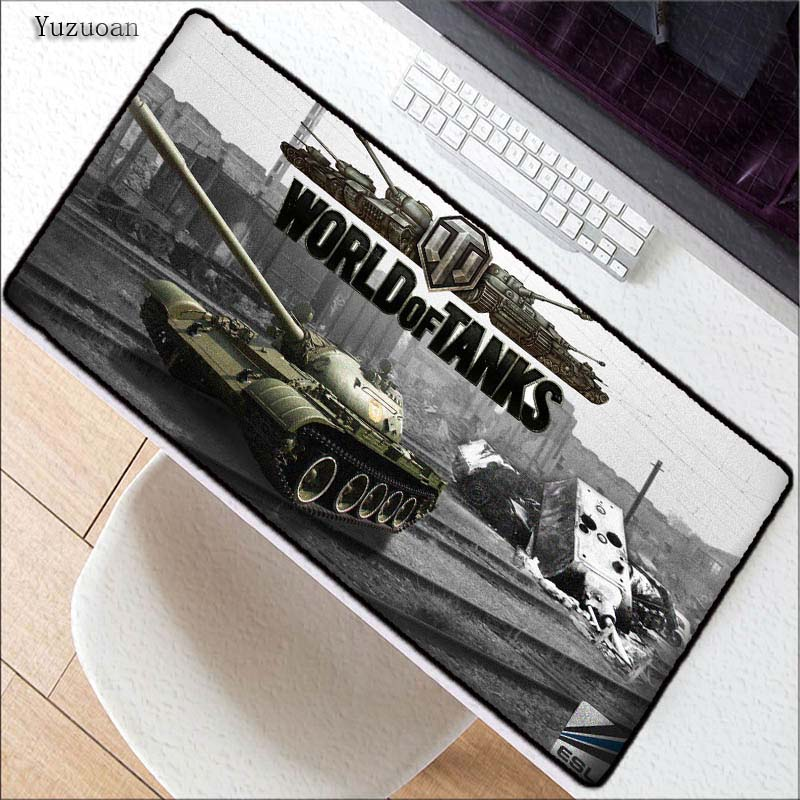 Yuzuoan Drop Shipping World of Tanks Rubber Mousepad Battlefield Large Gaming Mousepad PC Computer Laptop Optical Mice Play Mat