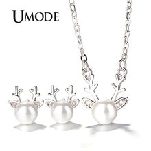 UMODE Cute White Pearl Deer Antlers Jewelry Set for Women Earring and Pendant Necklace White Gold Link Chain Set Jewelry AUS0057(China)
