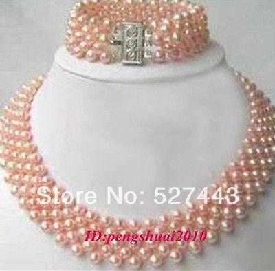 En gros De Luxe Rose Perle Perles Cluster Femmes De Bal Collier Ras Du Cou Bracelet Ensemble de Bijoux (A0423)