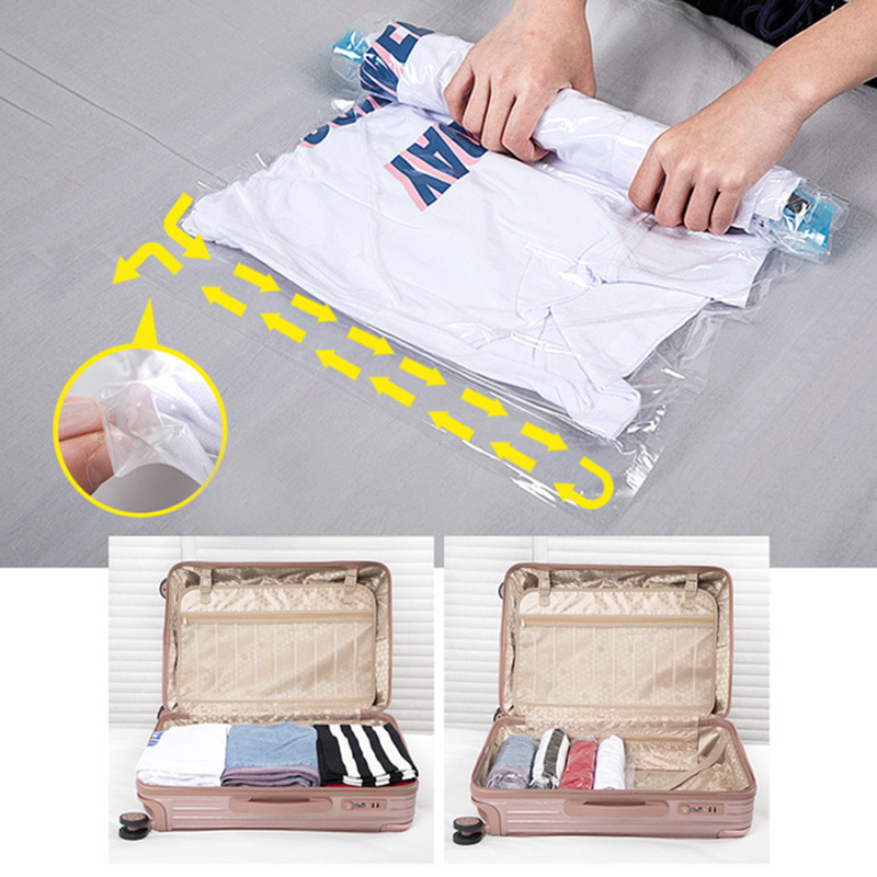 Portable Hand Rolling Compression Vacuum Bag Border Foldable Compressed Home Clothes Plastic Storage Bag Space Saving Seal Bags