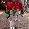 Ручной Работы Хрустальный красный цветок розы статуэтки  украшение стекло неувядающийся букет скульптура высокое качество подарок ко Дню ...