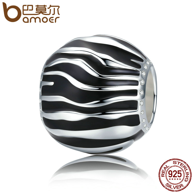 BAMOER 100% plata esterlina 925 2 Estilo tiempo fugaz blanco y negro esmalte cupieron las pulseras collares joyería SCC295