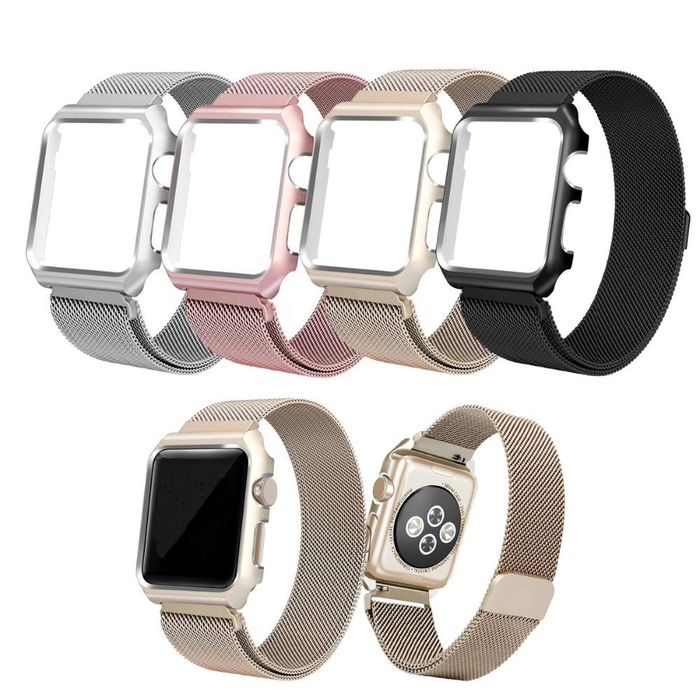 2 in 1 schutzhülle und Milanese Schleife Mesh uhr bands für apple watch iwatch 38mm 42mm serie 123 armband armband strapes-in Uhrenbänder aus Uhren bei  Gruppe 1