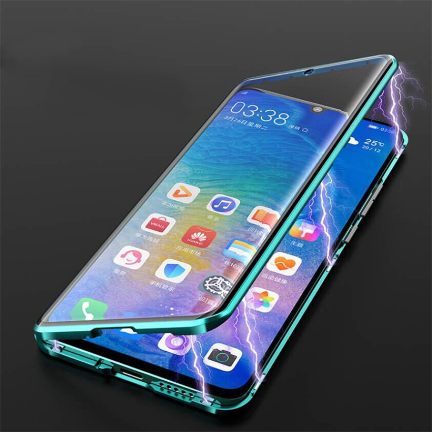 R-just Magnetic Metal Bumper Case for Huawei P30 Lite Tempered Glass Front Back Cover (13)