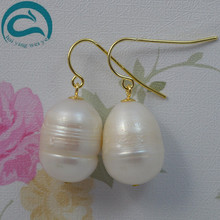 White Natural Pearl Earrings 11 Big Size Rice Freshwater Drop Pearl Earrings Fine Jewelry Gift For Women