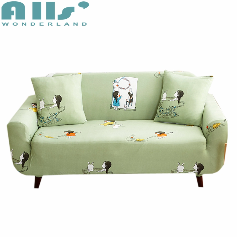 Sale! Cartoon Bunny and Little Girl Couch Cover Soft Green
