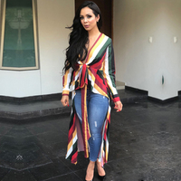 Women Autumn Trendy Irregular Long Tail Blouse Lady Loose Ruffle Tops Long Sleeve Sexy V Neck Bandage Cardigan Outerwear