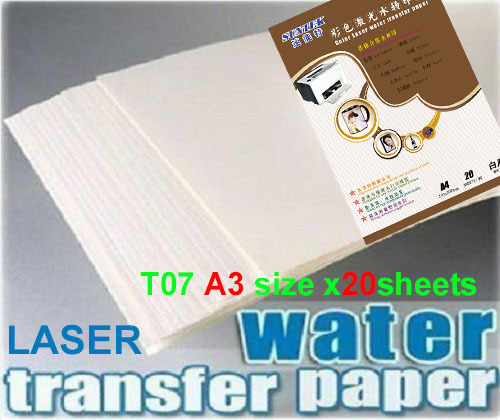 T07 A3 White Laser Papel Transfer Paper X20pcs Water Slide Decal