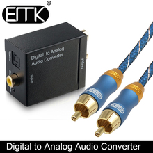 EMK Digital To Analog Audio Converter Coaxial Optical Toslink to RCA output converter Adapter Signal to Analog Audio Converter