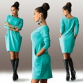 Luva longa das mulheres Magro novas mulheres estilo casual 2015 nova com pocketsolid seção fina em torno do pescoço na altura do joelho-comprimento vestido sexy 1202E