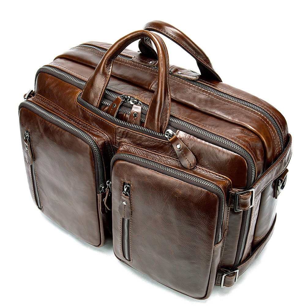 Genuine Leather business men s bag large capacity laptop bag cross section shoulder slung briefcase backpack