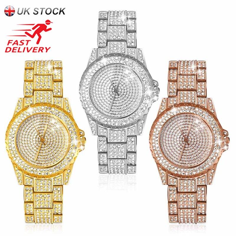 Jubaoli nuevo lujo mujeres relojes del rhinestone reloj de señora vestido de reloj hombres de lujo analógico Relojes de cuarzo Relogio