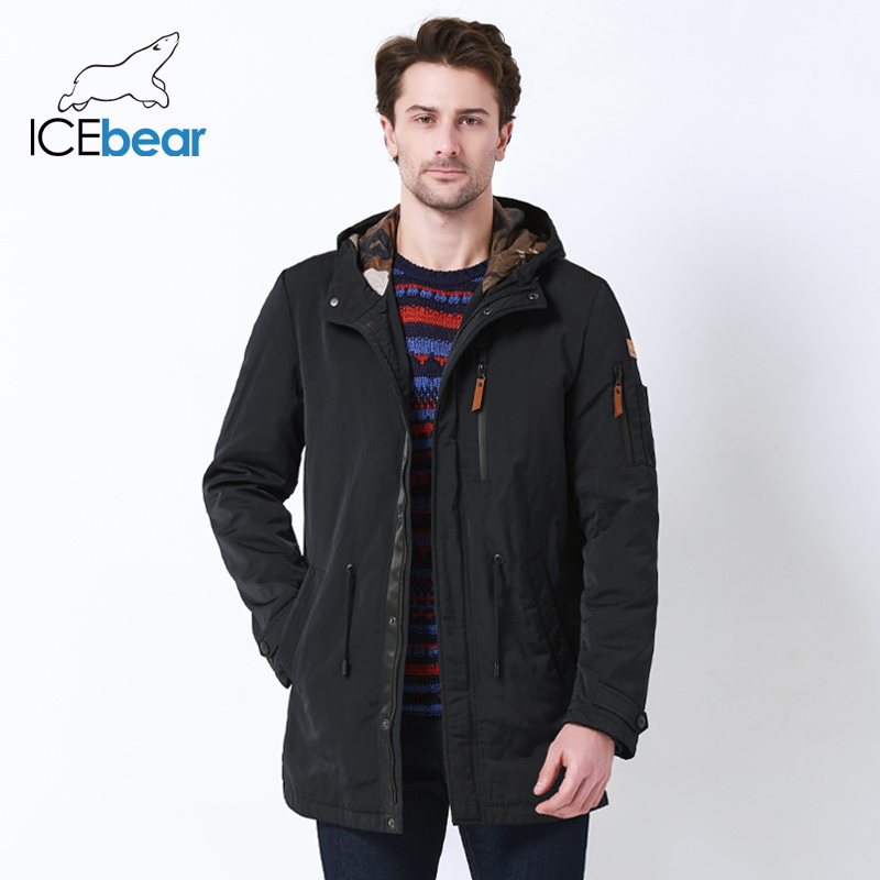 Image 3 - ICEbear 2019 Trench Coat For Men Hat Detachable Autumn Men New Casual Medium Long Brand Coats 17MC017D-in Trench from Men's Clothing