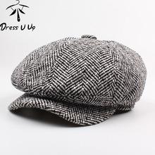 DRESSUUP mężczyźni berety kapelusz jesień nowy Vintage w jodełkę Octagon Cap kobiet dorywczo kapelusz dyni płaskie berety peaky blinders tanie tanio Dress U Up Dla dorosłych Bawełna CAAH0595 Stałe Na co dzień 58-60cm