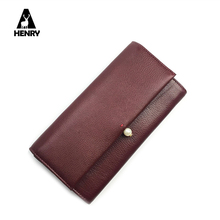 Christmas Gift Fashion Genuine Leather Wallet Female Carteira Feminina Pearl Long Wallet Buckle Large Capacity Mobile Phone Bag