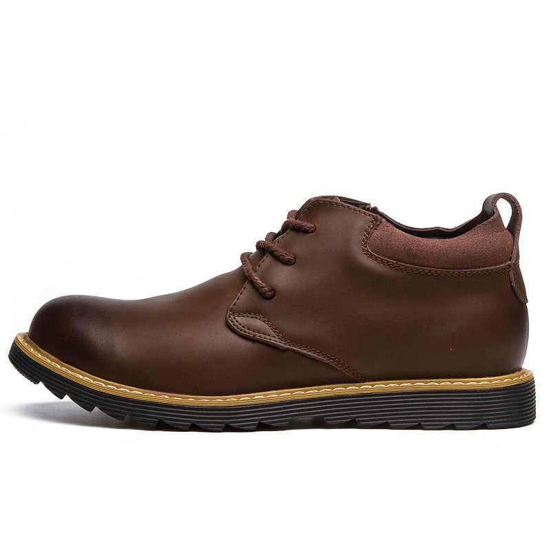 ROXDIA mode lederen herfst mannen laarzen sneeuw winter warm mens enkellaars waterdicht voor mannelijke schoenen 39-44 RXM058