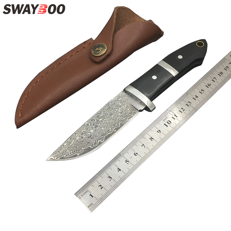 Swayboo damascus camping knives outdoor survival damascus steel hunting knives ox horn handle portabl knife with leather sheath damascus steel blade ebony handle outdoor camping knife portable survival hunting knives with leather sheath knives fixed blade